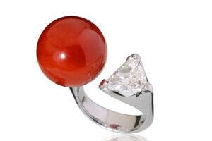 ring weissgold diamant koralle