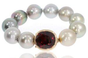 Perlenarmband Tahitiperlen mit Granat